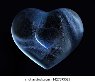 3d render of big blue glass heart ice love with blur effect on the edges with small glass heart in the centre and small balls bubbles particles fly around on black background, cover for greeting card