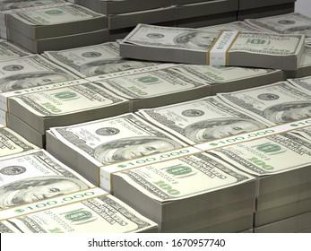 3D render of big pile of 100 dollar banknote wads
