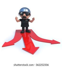 3d render of a biker standing on red arrrows