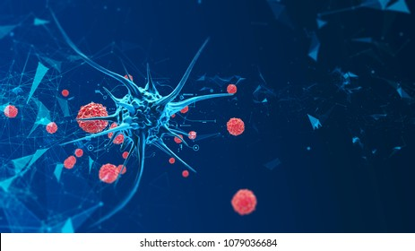 3d render biological cell virus. Micro bacteria under a microscope. Virus in the microenvironment. Biological disease. Defeat cell with virus. Microbiological study