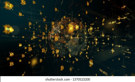 3D render Bitcoin (BTC) is a blockchain digital currency known as a cryptocurrency or crypto, Bitcoins can be stored in a digital wallet