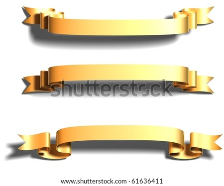 3D render bitmap - shiny dark gold ribbon on white