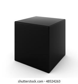 3d render of black cube on white