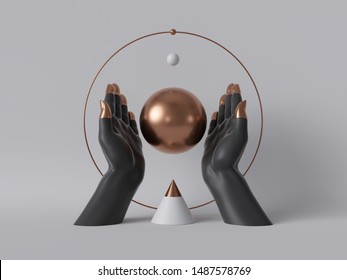 3d render, black decorative female mannequin hands isolated on white background, holding rose gold ball, body parts, fashion concept, esoteric fortuneteller rite, sacred geometry, clean minimal design