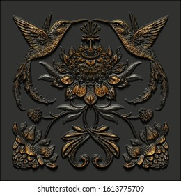 3d render, black gold antique floral carving, hummingbirds, tropic birds, aged metallic tile, embossed botanical pattern, medieval ornament, ancient ironwork, tropical flowers and leaves motif