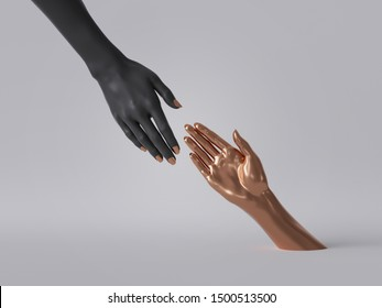 3d render, black gold female hands isolated, minimal fashion background, helping hands, mannequin body parts, feminist, partnership concept, clean minimal design