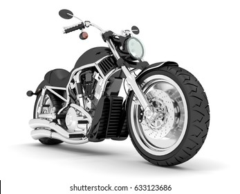 3d render black isolated classic motorcycle.