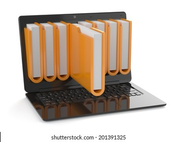 3d render of black laptop with folders inside screen. Storage concept