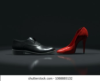 3D render of black leather male and female red high-hilled shoe placed opposite each other on black background