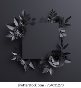 3d render, black paper flowers, botanical background, blank square banner, floral card, gothic frame