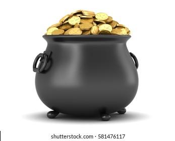 3d render of black pot full of gold coins