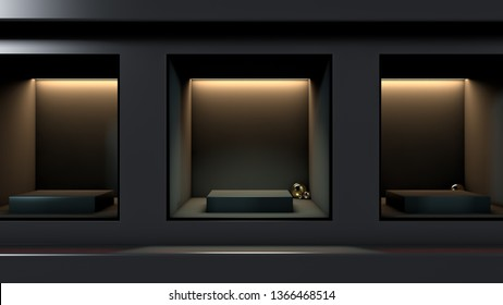 3D Render of black product placement box - İllüstrasyon