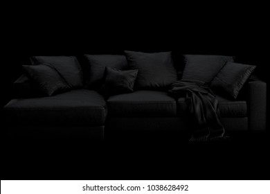 3d render of black sofa with pillows and plaid on the black background. Stylish black background. Dark style. Modern style