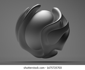 3d render of black and white abstract art with surreal 3d ball sculpture in organic curve round wavy smooth and soft bio forms in matte aluminium metal material on dark grey background