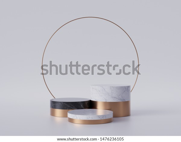 3d render of black white marble pedestal steps isolated on white background, golden ring, round frame, 3 cylinders, abstract minimal concept, blank space, simple clean design, luxury minimalist mockup