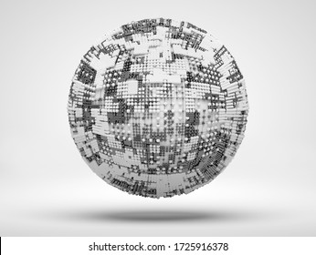 3d render of black and white monochrome abstract art 3d ball or sphere in wire atomic structure with technology cubical pattern in white plastic and titanium metal materials on light background