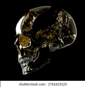 3d render of black and white monochrome abstract art with scary mystery creepy skull based on liquid gold metal with glossy glass parts in the dark on black background halloween card