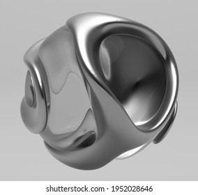 3d render of black and white monochrome abstract art with surreal spherical sculpture in organic curve round wavy smooth and soft bio forms in matte liquid aluminium metal material on grey background