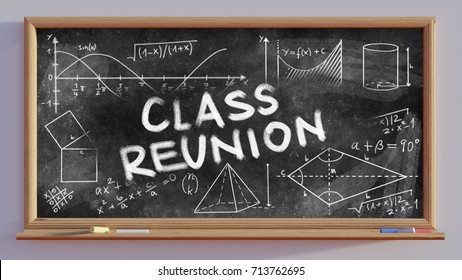 3D render of a blackboard with text Class reunion