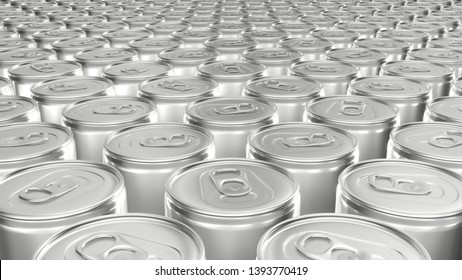 3D render of the blank aluminum soda cans