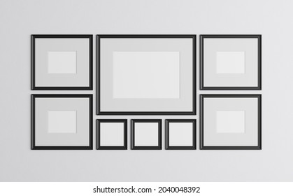 3d render of blank paintings. Insert photo - in an empty frame. Layout of posters on the wall.