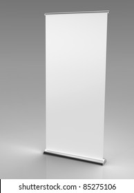 3d render of a blank roll up banner on a grey background