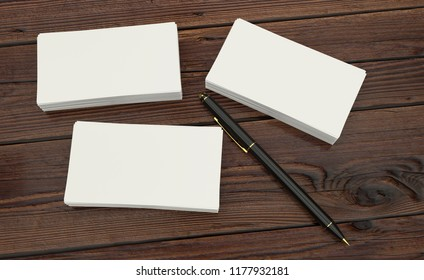 3D render of Blank white Business card presentation of Corporate id with black pen on wooden table