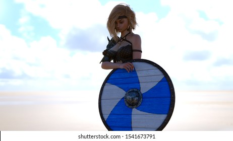 A 3D Render of a blonde young female warrior holding a viking shield in an outdoors area.