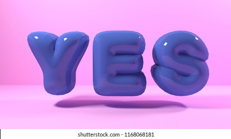 3d render blue bubble plastic on pink background letters yes