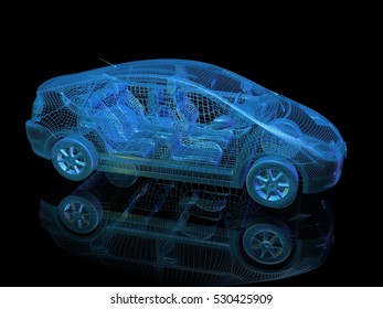 3d render of blue electric car . Side view