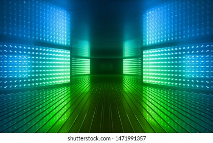 3d render, blue green neon abstract background, ultraviolet light, night club empty room interior, tunnel or corridor, glowing panels, fashion podium, performance stage decorations,