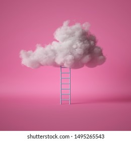 3d render, blue ladder under the white fluffy cloud, isolated on pink background