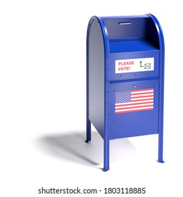3d render: Blue mailbox in the style of the United States Postal Services with a request to vote by mail and an us flag. Mail-in ballot or absentee ballot. Isolated on white with shadow.