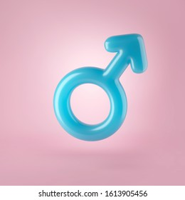 3d render, blue male gender sign, man, boy sex symbol, glass toy, candy, balloon. Sexual icon. Modern minimal design element. Glossy clip art isolated on pink background