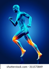 3D render of a blue male medical figure running with ankle and knee joints highlighted