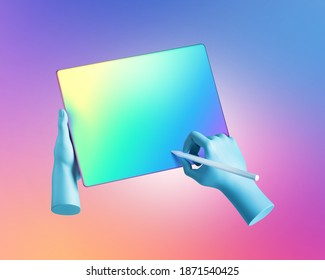 3d render blue mannequin hands hold digital pen and graphic tablet, electronic device pad with blank colorful screen, isolated on violet pink gradient background. Digital signature concept