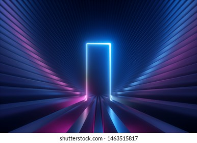 3d render, blue pink neon abstract background with glowing arch, rectangular shape, ultraviolet light, laser show performance stage, wall reflection