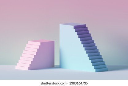 3d render, blue pink stairs, steps, abstract background in pastel colors, fashion podium, minimal scene, primitive architectural blocks, design element