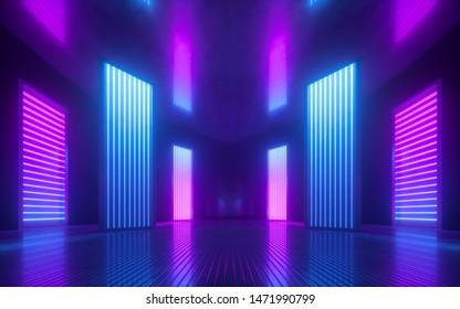 rendu 3d, arrière-plan abstrait violet rose bleu, lumière ultraviolette, intérieur vide de la discothèque, tunnel ou corridor, panneaux lumineux, podium de mode, décorations de scène de performance,