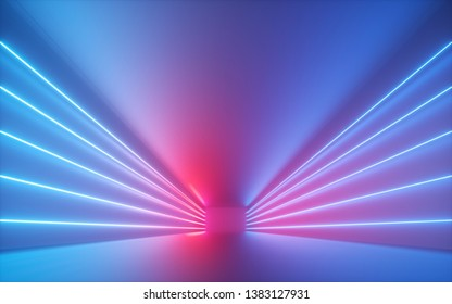 3d render, blue red neon lines, illuminated empty room, virtual space, ultraviolet light, 80's retro style, fashion show stage, abstract background