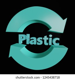 3d render of 3D blue two arrow Plastic recycling symbol over black background