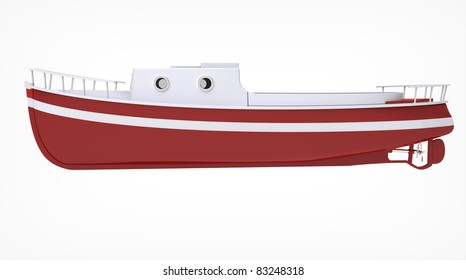 3d render of  boat motor on a white background