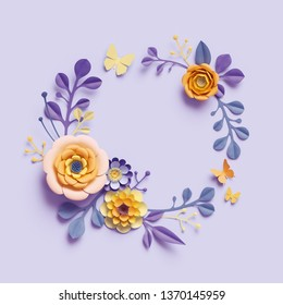 3d render, botanical background, round floral wreath, violet yellow craft paper flowers, festive arrangement, blank space, bright candy colors, isolated clip art, decorative embellishment