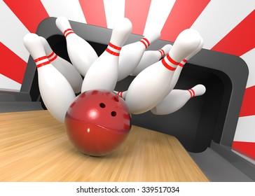 3D render of a bowling ball smashing the nine pins for a strike!