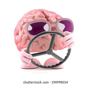 3d render of a brain navigating with a steering wheel