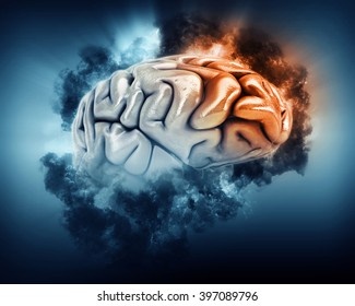3D render of a brain in storm clouds with frontal lobe highlighted
