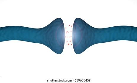 3d render Brain synapse between brain neurons