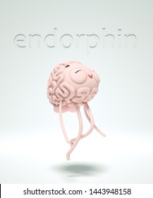 3d render of the brain-guy joying effects of endorphins