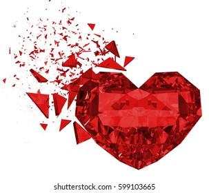 3d render breaking red heart