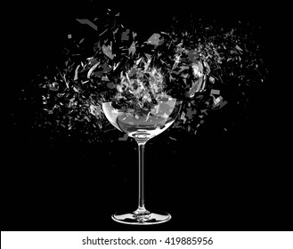 3d render Breaking wine glass on black